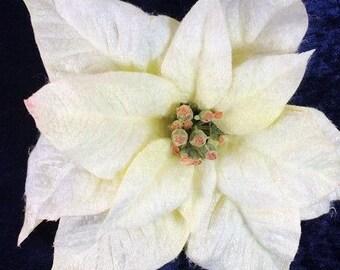 1 Jumbo White Poinsettia Flower Artificial Flowers Scrapbooking Flower Embellishments Craft Flowers Fake Flowers