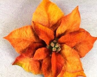 1 Jumbo Orange Yellow Poinsettia Flower Artificial Flowers Scrapbooking Flower Embellishments Craft Flowers Fake Flowers