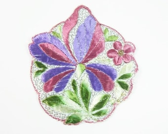 Antique Silk Pink Red Flower Leaves Patch Embroidery Applique Patches Antique Flower Patch Applique 1935 Nr 2