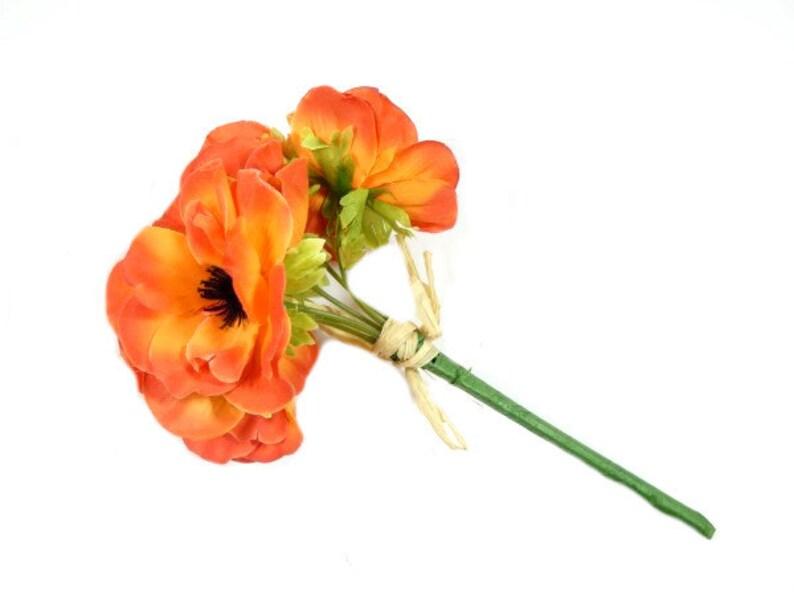 1 Red Orange Anemone Flower Bouquet Artificial Silk Flowers Scrapbooking Flower Embellishments Craft Flowers Wreath