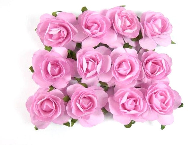 12 pink paper roses paper flowers artificial flowers fake etsy image 0 mightylinksfo