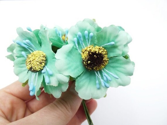 6 green blue cherry flowers silk flowers artificial flowers etsy image 0 mightylinksfo