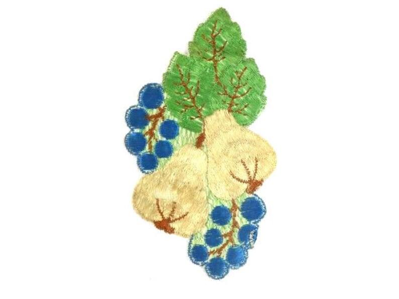 Antique applique vintage silk beige pears patch embroidery etsy