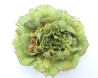 Silk Flowers 1 Jumbo Green Peony Flower Artificial Flowers Scrapbooking Flower Embellishments Craft Flowers Fake Flowers