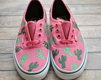 1f54e4f49a Cactus Women s Hand Painted Vans
