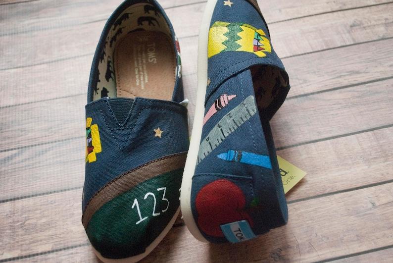 a89ffc28474 Teacher School Themed Hand Painted Women s Custom Toms