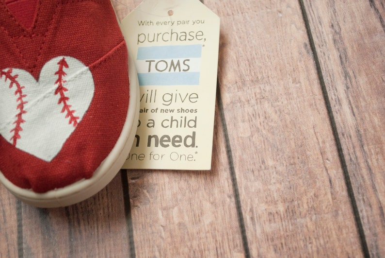3d779c9921af3 Baseball Heart Tiny Toms   Hand Painted Baby Toms   Hand Painted Youth Toms