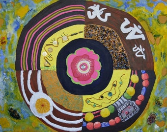 Wheel of Peace by Dorje Dolma, signed art print on paper,11 inches X 8.5 inches, unframed
