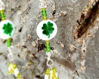 Green Four Clover Leaf and heart shaped glass beads and seed beads with fishhook earrings by Dorje Dolma