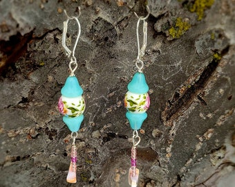 rose ceramic beads,  seashell bird shaped, turquois color aqua druk beads and seed beads with silver lever back earrings by Dorje Dolma