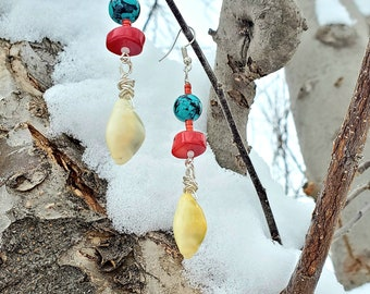 Cowrie seashells,  reconstituted turquoise,  bamboo red dyed coral beads, red glass beads, dangling , fishhook earrings by Dorje Dolma