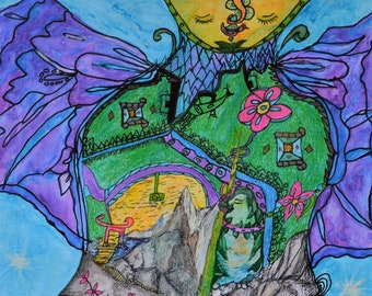 Spring Fairy by Dorje Dolma, 11 x 8.5 inches signed art print on paper , unframed