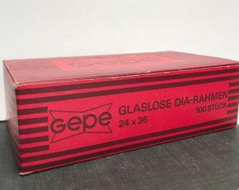 GEPE glassless grey /white slide mounts made in Sweden 24 x 36 glassless DIA- RAHMAN new old stockquality 35mm slide mounts plastic mounts
