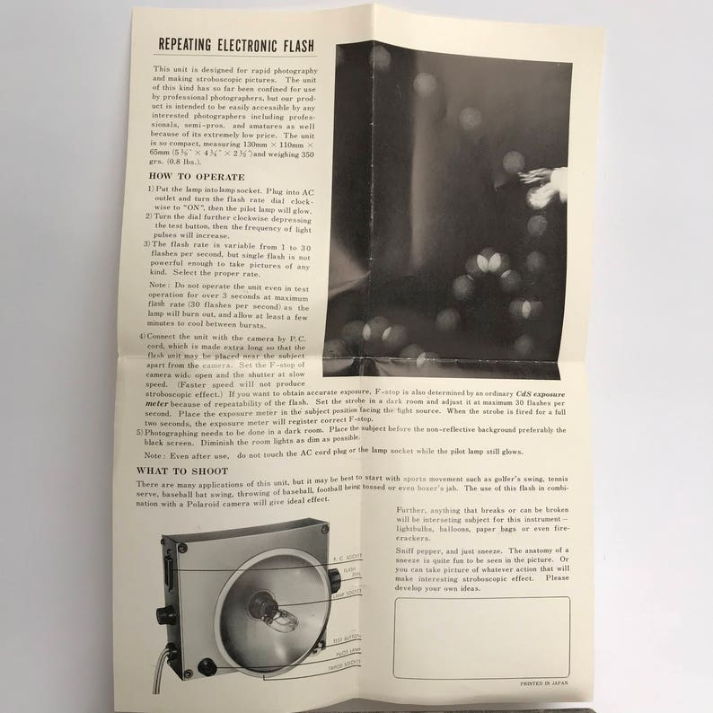 PRINZ Stroboscope with instructions and working bulb  pc cord with household   flash photography  repeating photo strobe old school