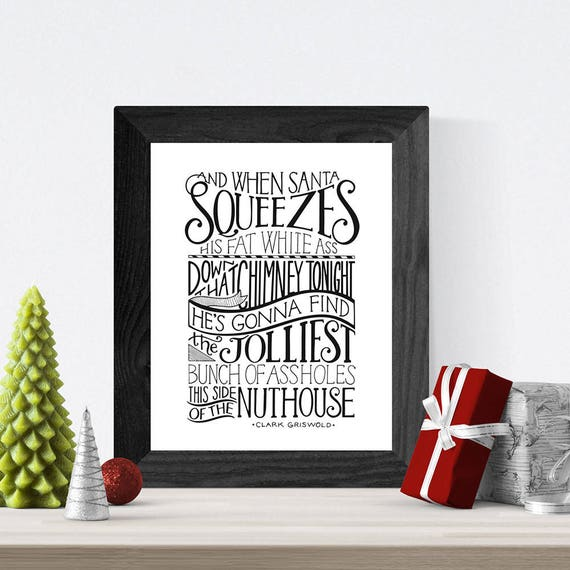 Most Famous Christmas Vacation Quotes: Christmas Vacation Hand Lettered Quote Wall Art