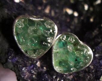 Rough Emerald and Diamond Stud Earrings