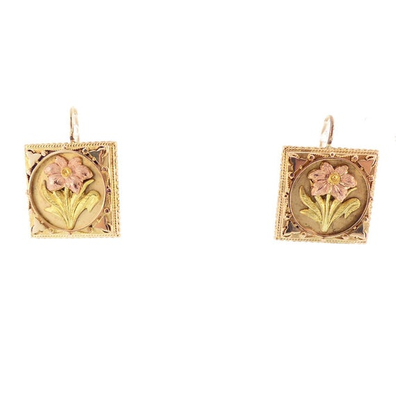 Victorian 14K Multi-Colored Gold Floral Earrings