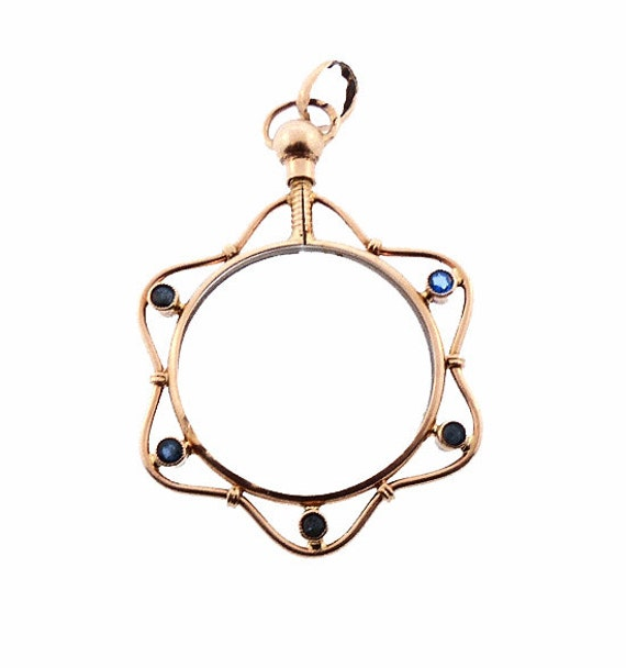 Victorian French 18K Gold, Sapphire & Crystal Photo Locket