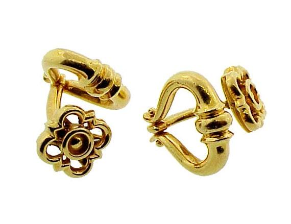 French 18K Gold Doorknocker Cufflinks
