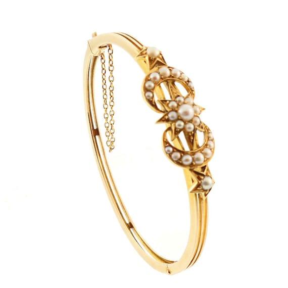 Victorian 14K Gold Pearl Crescent Moon & Star Bangle Bracelet