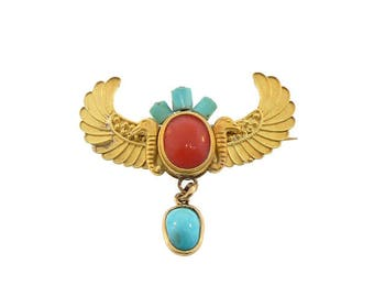 Art Deco Egyptian Revival 20K Gold, Coral & Turquoise Brooch