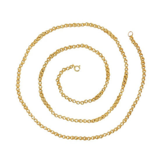 """Victorian 14K Gold Double Belcher Fluted Chain Link 28.5"""" Necklace"""