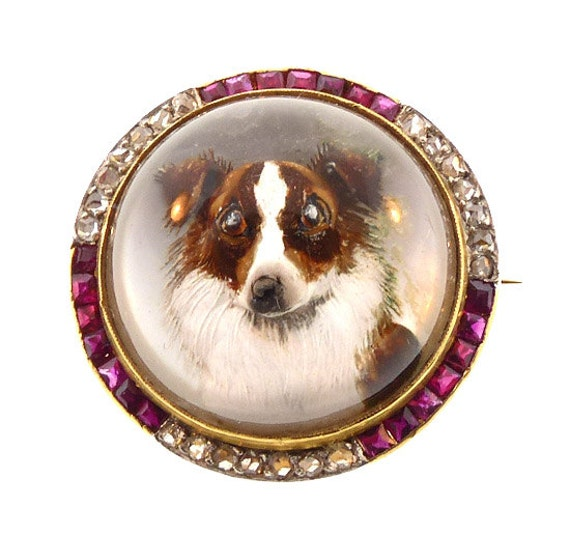Edwardian 18K Diamond Ruby Essex Crystal Collie Br