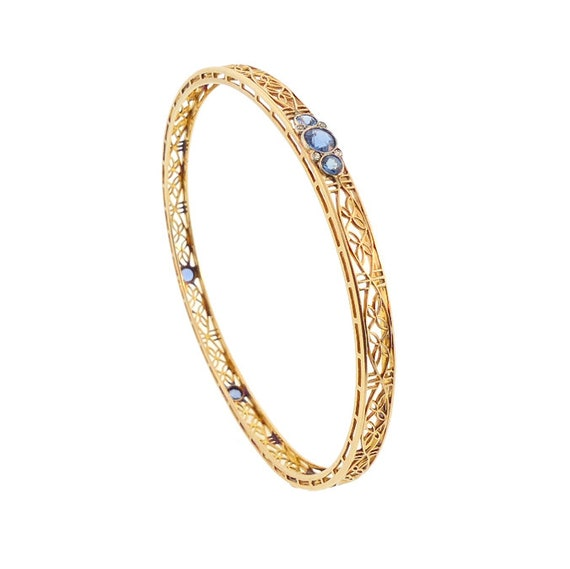 Edwardian 14K Gold, Platinum, Sapphire & Diamond Bangle Bracelet