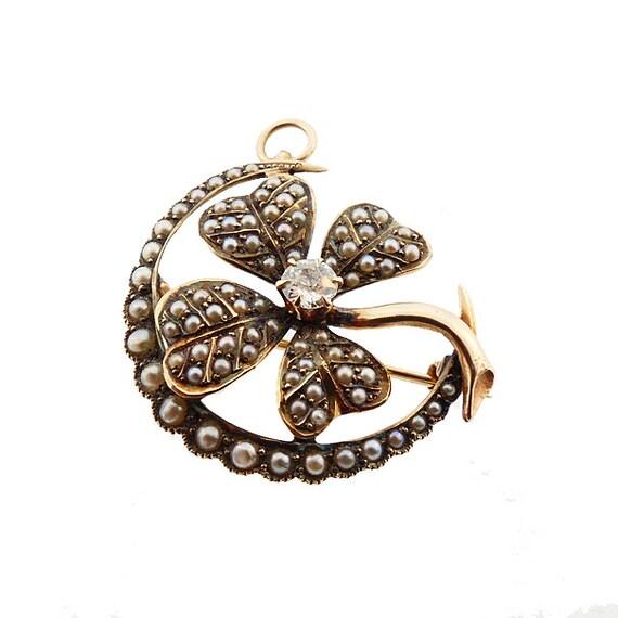 Victorian Gold Seed Pearl Diamond Clover & Crescen