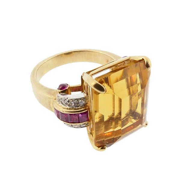 c196f5e1c4195 Retro Citrine Diamond Ruby 14K Gold Statement Cocktail Ring