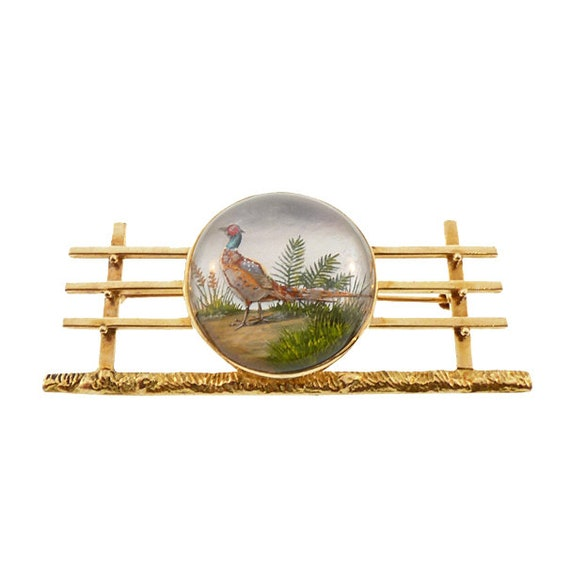 Essex Crystal Pheasant 14K Gold Animal Brooch