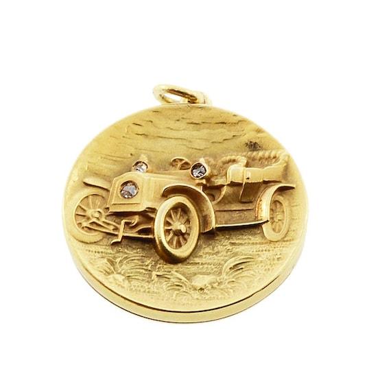 Art Nouveau 14K Gold & Diamond Ford Model B Automobile Locket