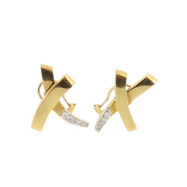 4bc9803f9 Tiffany Paloma Picasso 18K Gold Platinum Diamond X Earrings | Etsy