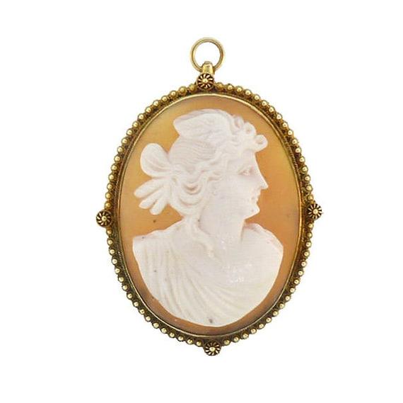 Victorian Etruscan 14K Gold Aurora / Eos Shell Cameo Pendant / Pin