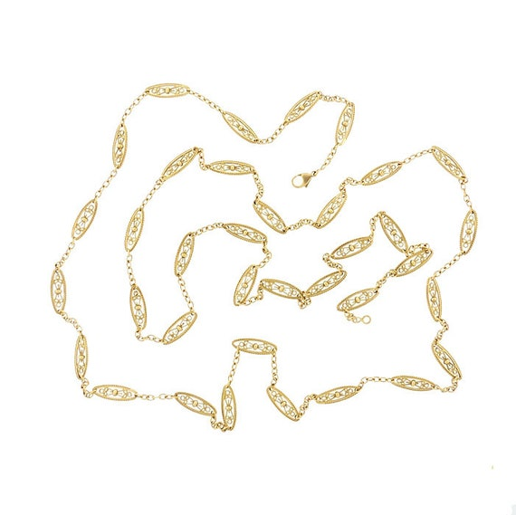 Victorian French 18K Gold Fancy Link 47-Inch Long Chain Necklace