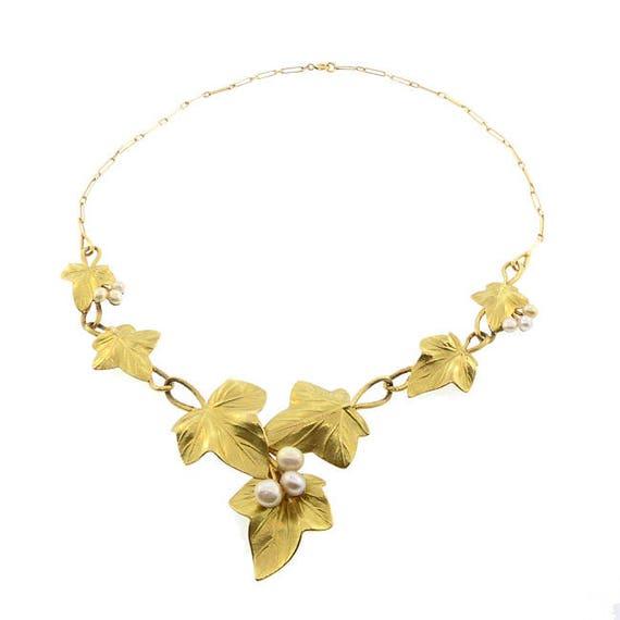 Edouard Aimé Arnould Art Nouveau 18K Gold & Pearl Floral Necklace SIGNED