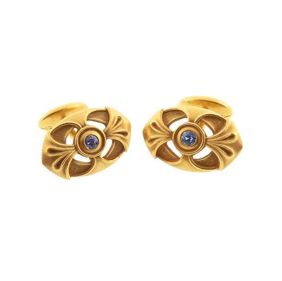 14K Gold & Sapphire Art Nouveau Cufflinks