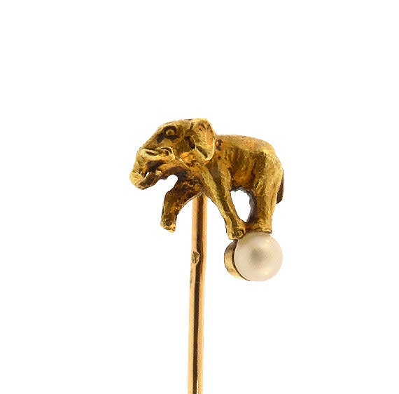 Victorian French 18K Yellow Gold & Pearl Elephant on a Ball Stick Pin