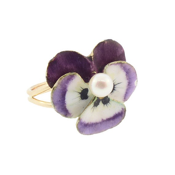 Enameled 14K Gold & Pearl Pansy Conversion Ring