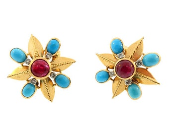 French 18K Gold Diamond Ruby & Turquoise Earrings