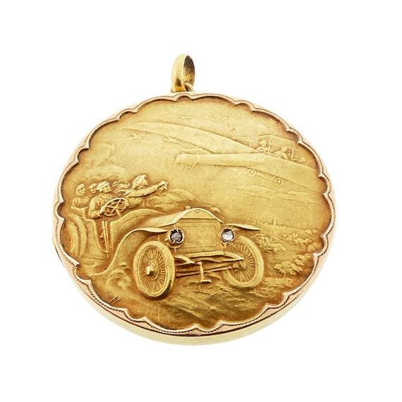 18K Gold Rose Cut Diamond Early Automobile & Airplane Scenic Locket