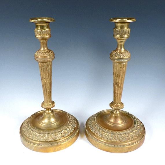 French Louis XVI Style Bronze Dore Candlesticks