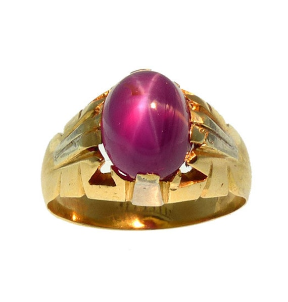 18K Gold Star Ruby Ring | Men's Star Ruby Ring | R