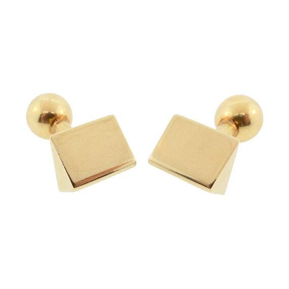 Louis Tamis & Sons Art Deco 14K Gold Barbell Cufflinks