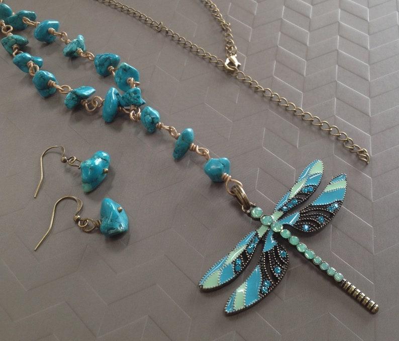 Turquoise Dragonfly Pendant Necklace Set