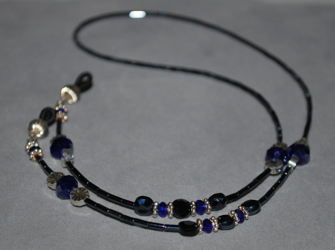 Royal Blue and Navy Beaded Necklace Style Eyeglass Holder Fashion Cord Chain