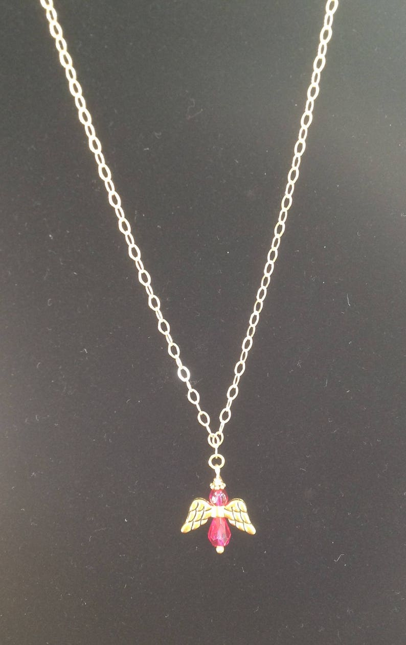 Fuschia Angel Necklace and Earring Set