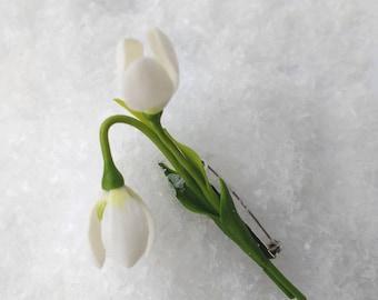 Spring Snowdrop White Enamel Silver Tone Brooch