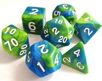 Green/Blue Polyhedral Dice Set, D&D, Dungeons and Dragons, RPG, Roleplaying, Dual Colour, Pathfinder, Set of 7, Bescon, Earth Dice