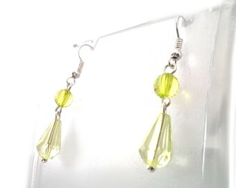 Pale Green Crystal Tear Drop Earrings, Gift for Her, One of a Kind, Sterling Silver